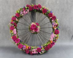 A cyclists funeral wreath. WHAT A BEAUTIFUL TRIBUTE....