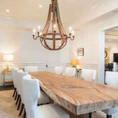 Natural wood dining room table with wine barrel stave chandalier. Rustic french country dining room - Home decor and design Large Dining Room Table, Dining Table Design, Wooden Dining Tables, Dining Room Furniture, Natural Wood Dining Table, Dining Chairs, Rustic Table, Table Lamps, 12 Person Dining Table