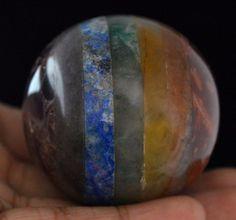 885 Cts Awesome Seven Chakra Multi Gemstone Gemstone Ball Stone Size 49 mm F3 #valueforbucks