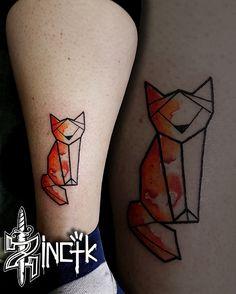 Martin Tattooer Zincik - Czech tattoo artist - Origami Fox tattoo design watercolor , tetování Chrudim / Praha