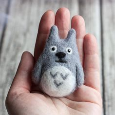 Totoro brooch  Hand Felted Brooch  Wool Animal  by znmystery