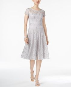 Sangria Sequined Lace Fit & Flare Dress | macys.com