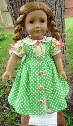 18 Doll Clothes Daisy Kingdom Dress and Pinafore by Designed4Dolls, $32.95