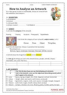 Arty Crafty Studio: Art Worksheets - not sure if I'd use, but some ideas that could be modified for my classroom.