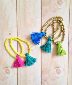 These adorable tassel bracelets can be made in just minutes & the combinations are endless!