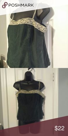 Green camisole trimmed in decorative ribbon This lovely dark green camisole is trimmed in a beautiful ribbon.   It zips on the side.  Made from 100% silk. Petite Sophisticate Tops Camisoles