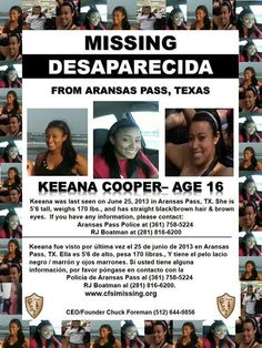 FOUND SAFE!  TY Jackie  (6/25/13: Keeanna Cooper, 16, missing from Aransas, TX.)