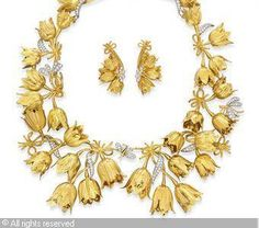 "Schlumberger ""Tulip"" necklace and earrings"