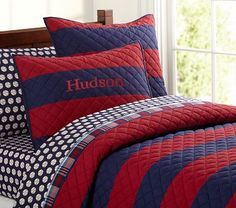 Rugby Stripe Quilted Bedding from PBK, would be easy to make a quilt with large stripes