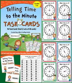 This set includes 96 task cards total (2 sets of 48 cards) to help students learn how to tell time to the minute.