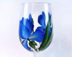 Hand Painted Purple Iris Wine Glasses Set of by LemonTreeWorkshop