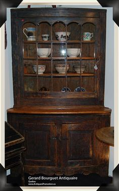 Quebec 18th Century Diamond Point Armoire And Panelled Box