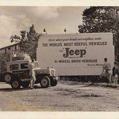 Vintage Jeep CJ-3B with roadside ad