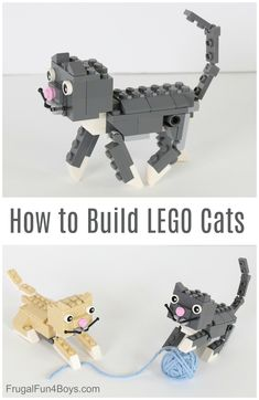 Building Instructions - How to build adorable cats using your own LEGO bricks. Legos, Lego Dog, Super Cute Cats, Lego Challenge, Lego Club, Lego Craft, Lego For Kids, Kids Fun, Craft Activities For Kids