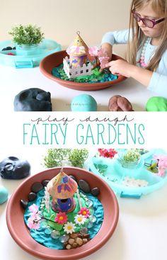 Play Dough Fairy Gardens - Atelier am Mittwoch - Garten Playdough Activities, Toddler Activities, Motor Activities, Kids Crafts, At Home Crafts For Kids, Crafts Cheap, Small World Play, Fairy Crafts, Creative Play