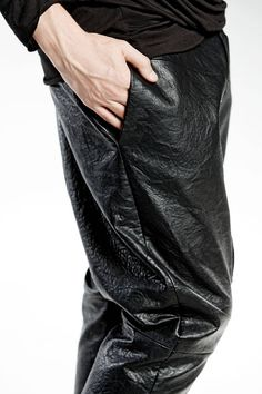 ECO LEATHER PANTS Antique Zipper black Mens Pants hand