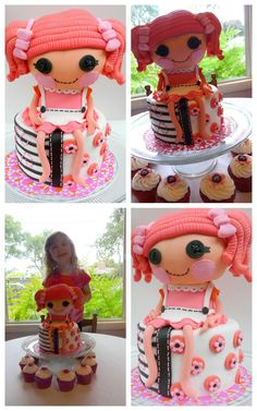 Lalaloopsy cake.  Doll is made of krispie treats and fondant.
