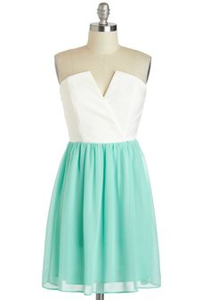 Pop of Peppermint Dress - Short, White, Mint, Party, A-line, Strapless, Wedding, Pastel