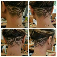 Designer Clothes, Shoes & Bags for Women Girl Undercut Design, Undercut Designs, Undercut Styles, Undercut Women, Undercut Hairstyles, Updo Hairstyle, Hair Tattoo Designs, Shaved Undercut, Shaved Hair Designs