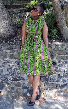 High collar dress by HouseofAfrika on Etsy Latest African Fashion Dresses, African Dresses For Women, African Print Fashion, Africa Fashion, African Attire, High Collar Dress, Ankara Dress Styles, African Print Skirt, Kitenge
