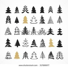 39 Trendy Ideas For Simple Tree Drawing Sketches Christmas Cards Simple Christmas Tree Drawing, Christmas Tree Sketch, Christmas Tree Graphic, Tree Drawing Simple, Christmas Doodles, Simple Tree, Christmas Icons, Christmas Art, How To Draw Christmas Tree