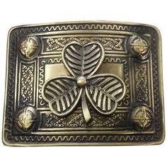 Men-s-Kilt-Belt-Buckle-Irish-Shamrock-Celtic-Knot-Work-Antique-Finish-Buckle