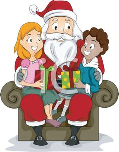 Royalty Free Clipart Image of a Boy and Girl in Santa's Lap