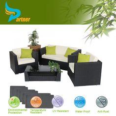 Semi círculo jardín de mimbre sofá de china al aire libre muebles de ratán sintético