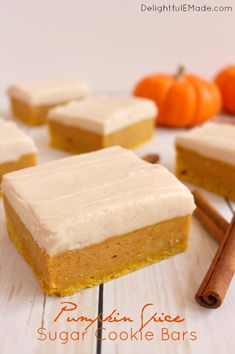 Sugar Cookie Bars with a delicious fall twist!  Cinnamon cream cheese frosting…