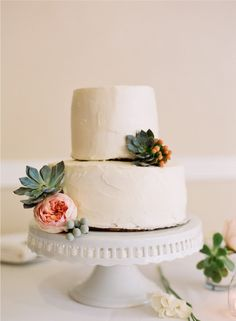 ivory cake with david austin roses + succulents