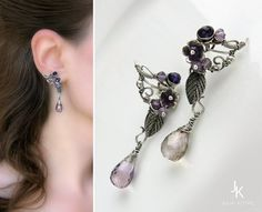 Wire wrapped silver floral studs by Julia Kotre
