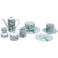 Daisies and Checkerboard Decorated Porcelain Breakfast Set | From a unique collection of antique and modern porcelain at https://www.1stdibs.com/furniture/dining-entertaining/porcelain/