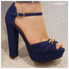 sandália salto alto - azul bic - high heels - party shoes - Inverno 2015 - Ref. 15-3904