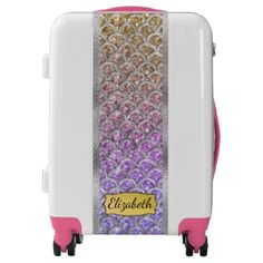#pretty - #Pretty Pastel Mermaid Scallops Personalized Luggage