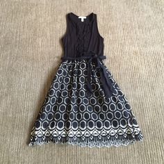Black and cream Weston Wear dress (Anthro) 2 gorgeous dress! fits like a dream- roomie enough to fit a 4. FLAW: belt loop on right side unstitched (see pic 3) other than that- only worn once, pristine condition! Anthropologie Dresses