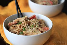 For a tasty dinner dish, try this Thai chicken peanut noodle recipe by Joyful Healthy Eats!