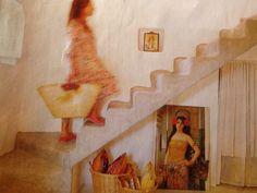 Escalera rústica sin barandilla
