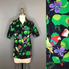 17e6a815 1990s Black Hawaiian Shirt Bright Birds / 90s Toucan Collared Button Down  Shirt / Vintage Boys Hawai