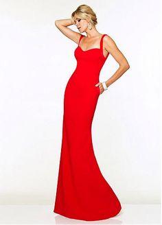 Charming Stretch Satin Spaghetti Straps Neckline Floor-length Sheath Prom Dress