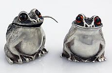 English Sterling Silver Frog Salts