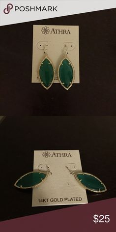 Athra gold plated green glass earrings Beautiful 14kt plated green glass dangle earrings! AUTHENTIC Athra brand. Will make a nice gift.. comes in gift box 😍 ATHRA Jewelry Earrings
