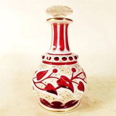 ANTIQUE-BOHEMIAN-PERFUME-SCENT-BOTTLE-RUBY-CRANBERRY-WHITE-OVERLAY-MOSER