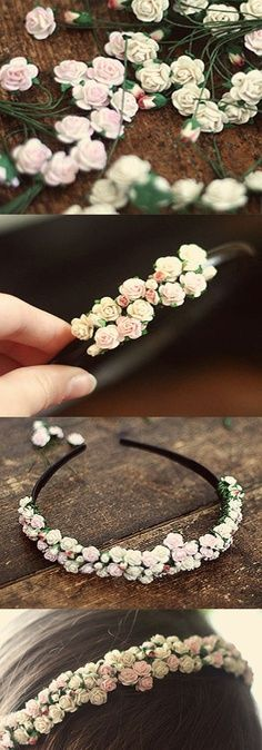 DIY flower headband with tiny pink and white flowers. Cute accessory idea for a flower girl.