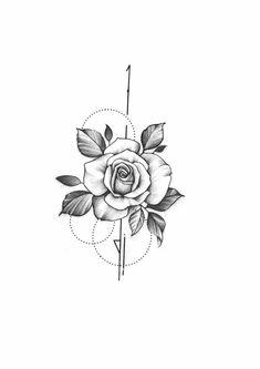 - Roses -Roses - Roses - Roses in geometry Temporary Tattoo / Dots lines flash tattoo / Drawing flower Rosebud / Female Thigh Diseño The 90 Best Back Tattoos [Femininas e Masculinas] Mini Tattoos, Love Tattoos, Body Art Tattoos, Small Tattoos, Tatoos, Sommer Tattoo, Rose Tattoos For Women, Muster Tattoos, Sternum Tattoo
