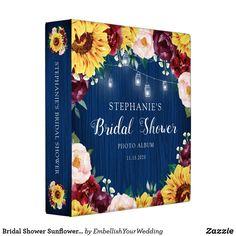 Bridal Shower Sunflower Blue Photo Album 3 Ring Binder Wedding Graphics, Bridal Shower Photos, Rustic Mason Jars, Wedding Store, Wedding Photo Albums, Blue Bridal, Blue Wood, Binder Design, Custom Binders