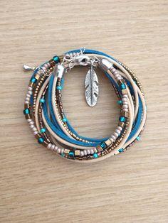 Boho leather wrap bracelet turquoise brown with miyuki beads