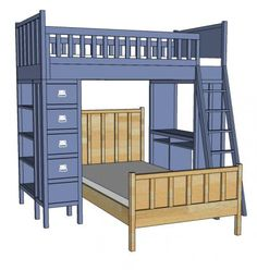 I want to make this!  DIY Furniture Plan from Ana-White.com  This simple bed can be used alone or with the Cabin Bunk System. Features a paneling look for added character, and an compact design for small spaces.
