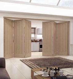 Aston Unfinished White Oak Internal Folding Sliding Door - Doors & More - June 01 2019 at Door Dividers, Room Divider Doors, Sliding Room Dividers, Door Design Interior, Interior Barn Doors, Design Interiors, Custom Wood Doors, Wooden Doors, Concertina Doors