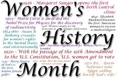 women's history month 2014 | This month we celebrate National Women's History.