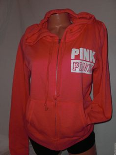 New M Victoria's Secret PINK Campus Hoodie Coral w/white Zip Up Cotton/Polyester #VictoriasSecretPINK #Hoodie